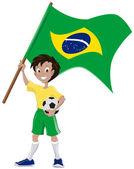 Happy soccer fan holds Brazilian flag — Stock Vector