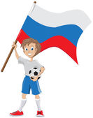 Happy soccer fan holds russian flag — Stock Vector