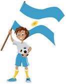 Happy soccer fan holds Argentina flag — Stock Vector