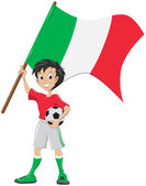 Happy soccer fan holds Italia flag — Stock Vector
