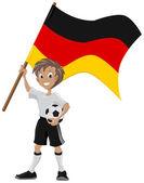 Happy soccer fan holds Germany flag — Stock Vector