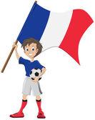 Happy soccer fan holds France flag — Stock Vector