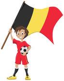 Happy soccer fan holds Belgium flag — Stock Vector