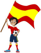 Happy soccer fan holds Spanish flag — Stock Vector