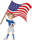 Happy soccer fan holds USA flag — Stock Vector