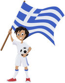 Happy soccer fan holds Greece flag — Stock Vector