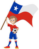Happy soccer fan holds Chile flag — Stock Vector