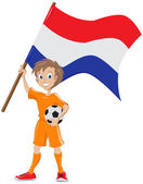 Happy soccer fan holds Holland flag — Stock Vector