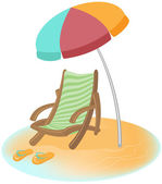 Parasol, sunbed and Flip-Flops. Vector cartoon — Stock Vector