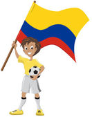 Happy soccer fan holds Colombian flag — Vector de stock