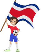 Happy soccer fan holds Costa Rica flag — Stock Vector