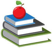 Stack of books and an apple. Vector cartoon — 图库矢量图片