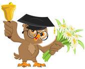 Owl teacher rings the bell and holding flowers — Vector de stock