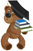 Teddy bear holding a books — Stock Vector