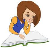 Girl reading open book. Vector cartoon — Stock Vector