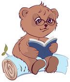 Bear reading open book — Stock Vector