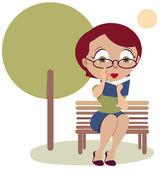 женщина, сидя на скамейке и читать книги — Cтоковый вектор