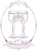 Wedding glasses in frame — Stock Vector