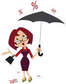 Woman with umbrella. Percent of the rain — Stock Vector