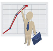 Business man holding on to a chart — Stock Vector