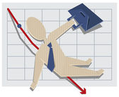 Business man falls from the chart — Stock Vector