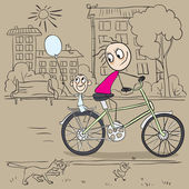 Mother and child riding a bicycle — Stock Vector