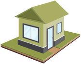 Tek katlı ev, izometrik projeksiyon — Vetor de Stock
