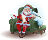 Santa Claus sits in a chair and reading a letter sheep — Stok fotoğraf