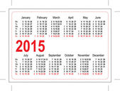 Calendario de bolsillo plantilla 2015 — Vector de stock
