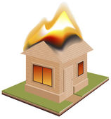 House is on fire. Need for insurance — Stock Vector