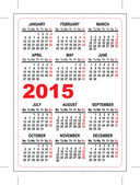 Pocket calendar 2015 template — Stock Vector