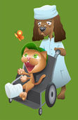 Dog veterinarian carries a cat in a wheelchair — Stock Vector