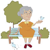 Grandmother on the bench feeding birds — Stock Vector