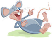 Gray mouse lies and laughs — Stock Vector