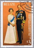 BELIZE - CIRCA 1979: A stamp shows the royal family — Stock Photo