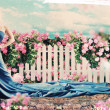 Stock Photo: Art collage with beautiful womin garden