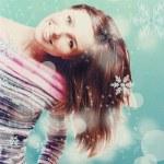 piękna młoda dziewczyna z snowboardowe — Zdjęcie stockowe #15605681
