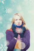 Beauty young girl with snowboard — Stock Photo