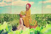 艺术拼贴画和美丽的女人 — 图库照片