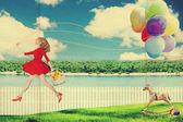 Kunst vintage collage mit schönen frau — Stockfoto