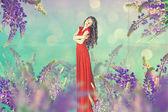 美しい女性と芸術ビンテージ コラージュ — ストック写真