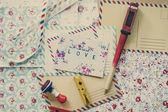 Art postcard on desctop, colofrul paper — Stock Photo