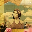 Vintage collage with beauty young woman in roses — Stock Photo #5892962
