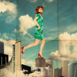 Art collage with woman in clouds — Stock Photo #6967676