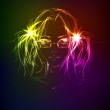 Hand-drawn fashion model from a neon. A light girl — Stock Vector