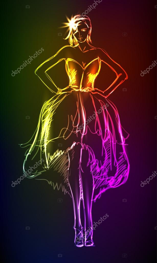 Hand-drawn fashion model from a neon. A light girl's — Stock Vector #14968887