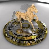 Koń wykonane z drewna i metalu na cokole narzędzi — Zdjęcie stockowe