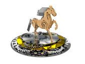 лошади сделаны из дерева и металла на постаменте передач — Стоковое фото