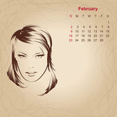 "Artistic vintage calendar for February 2014. ""Woman beauty"" seri — Stock Vector"