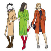 SKETCH. fashion girls — Stock Vector